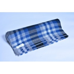 100%Pashmina特殊款披肩-藍白格紋