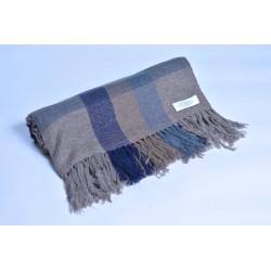 100%Pashmina特殊款披肩-棕藍格紋(加大)
